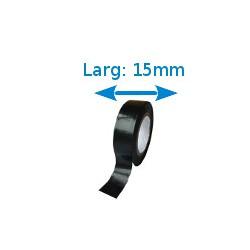Ruban adhésif PVC noir larg 15 mm long 10 m, lot de 10 rouleaux
