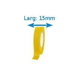 Ruban adhésif PVC jaune larg 15 mm long 10 m, lot de 10 rouleaux
