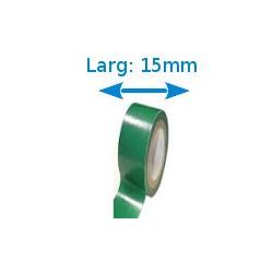 Ruban adhésif PVC vert larg 15 mm long 10 m, lot de 10 rouleaux