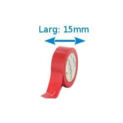 Ruban adhésif PVC rouge larg 15 mm long 10 m, lot de 10 rouleaux