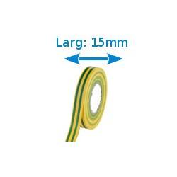 Ruban adhésif PVC vert-jaune larg 15 mm long 10 m, lot de 10 rouleaux