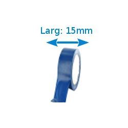 Ruban adhésif PVC bleu larg 15 mm long 10 m, lot de 10 rouleaux