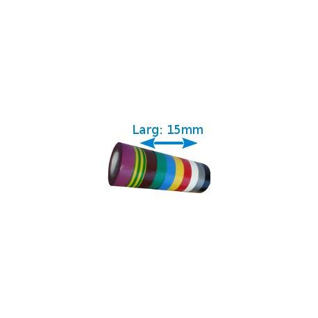 Ruban adhésif PVC couleurs larg 15 mm long 10 m, lot de 10 rouleaux